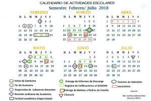Ccalendario Semestre feb-jul 2018 CBTIS 2