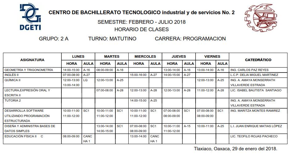 Horario Alumnos CBTis 2